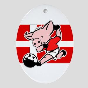 Denmark Soccer Pigs Oval Ornament