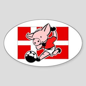 Denmark Soccer Pigs Oval Sticker