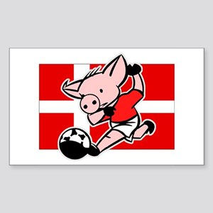 Denmark Soccer Pigs Rectangle Sticker