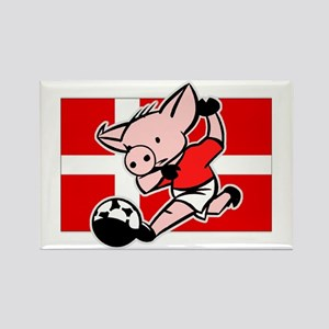 Denmark Soccer Pigs Rectangle Magnet