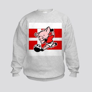Denmark Soccer Pigs Kids Sweatshirt