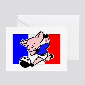 France Soccer Pigs Greeting Cards (Pk of 10)