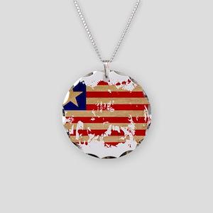 Liberia Flag Necklace Circle Charm