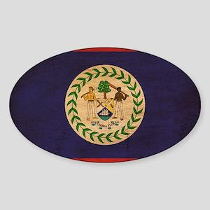Belize Flag Sticker (Oval)