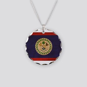 Belize Flag Necklace Circle Charm