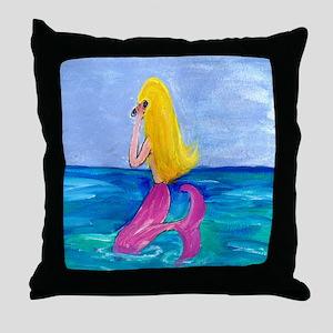 Cellphone Mermaid Throw Pillow
