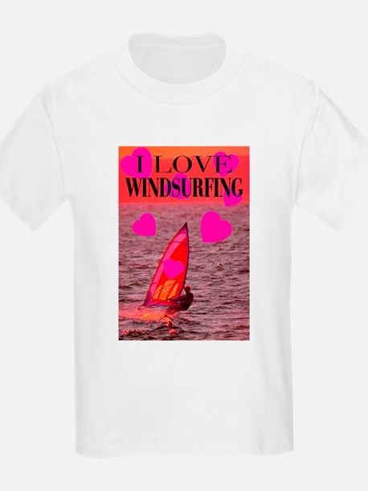 I Love Windsurfing Kids T-Shirt