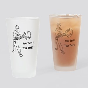 Guitarist with Custom Text. Drinking Glass