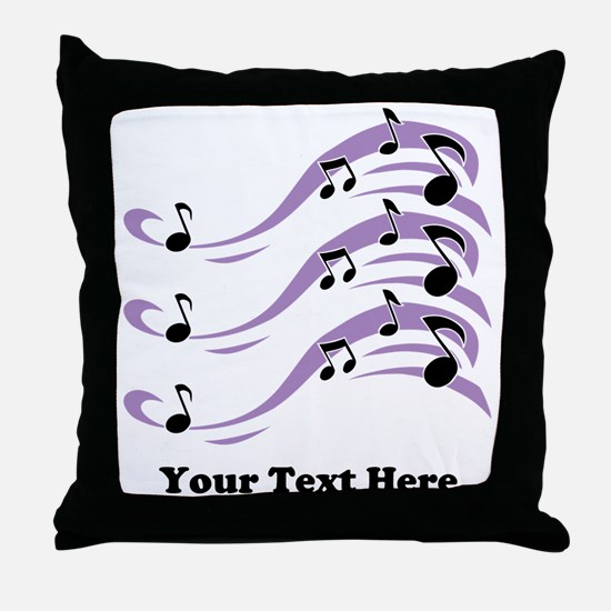Musical Notes and Text. Throw Pillow