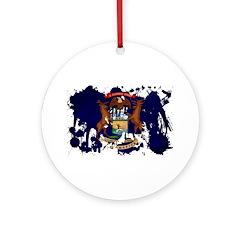 Michigan Flag Ornament (Round)