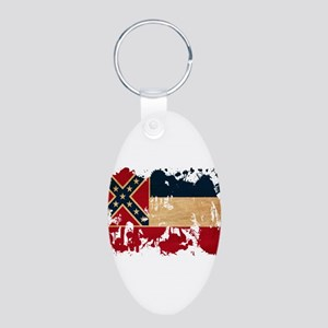 Mississippi Flag Aluminum Oval Keychain