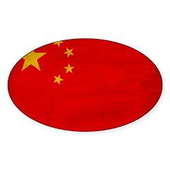 China Flag Sticker (Oval)