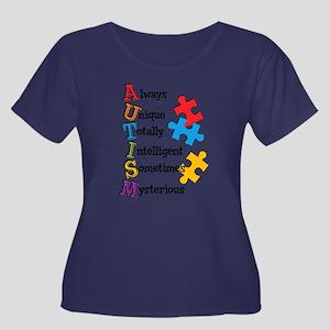 Autism A Women's Plus Size Scoop Neck Dark T-Shirt
