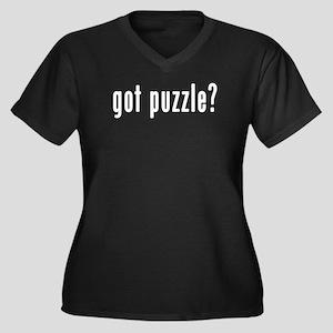 GOT PUZZLE Women's Plus Size V-Neck Dark T-Shirt