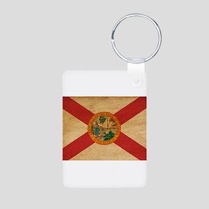 Florida Flag Aluminum Photo Keychain