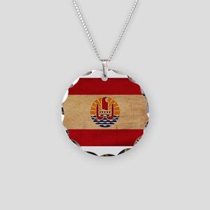 French Polynesia Flag Necklace Circle Charm