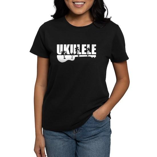white hawaiian tropical surf ukulele design