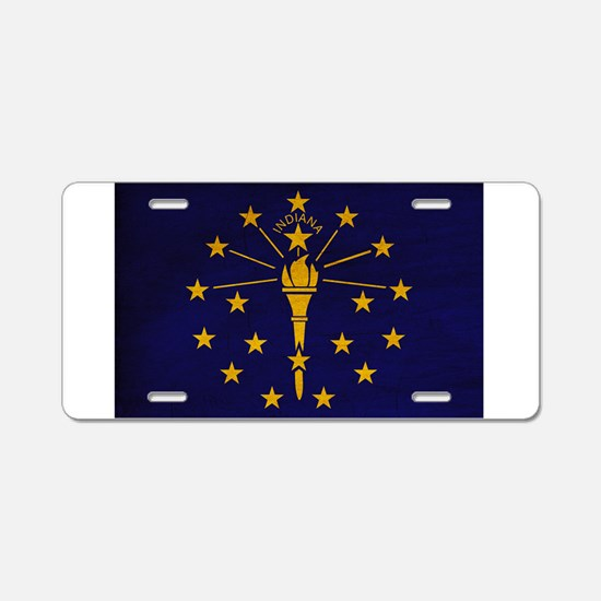 Indiana Flag Aluminum License Plate