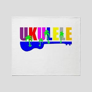 Hawaiian Ukulele Throw Blanket