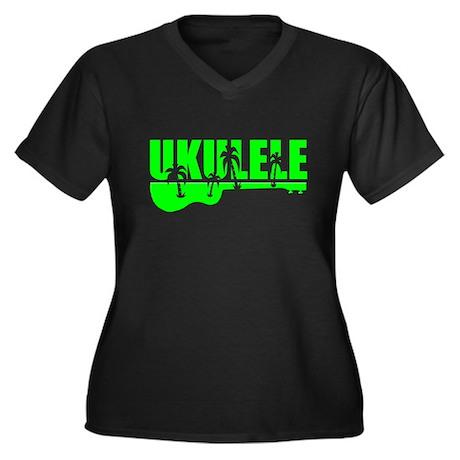 Hawaiian Ukulele Women's Plus Size V-Neck Dark T-S