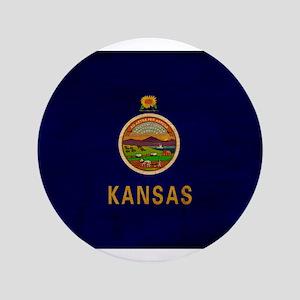 """Kansas Flag 3.5"""" Button"""