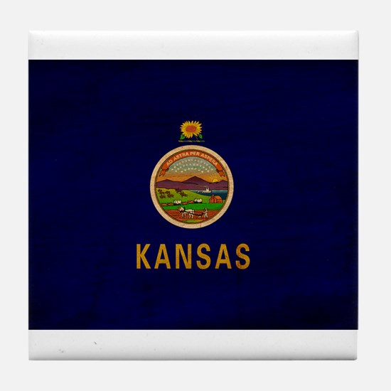 Kansas Flag Tile Coaster