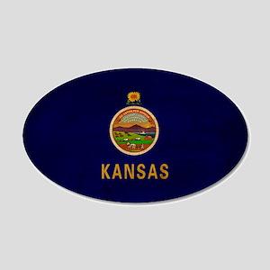 Kansas Flag 22x14 Oval Wall Peel