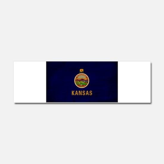 Kansas Flag Car Magnet 10 x 3