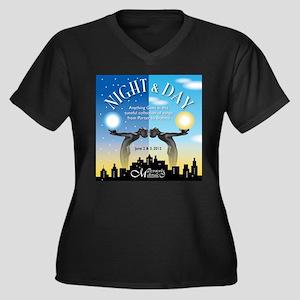 Night & Day Women's Plus Size V-Neck Dark T-Shirt
