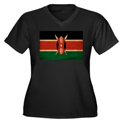 Kenya Flag Women's Plus Size V-Neck Dark T-Shirt