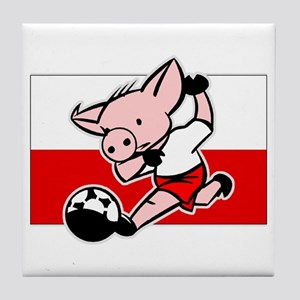 Poland Soccer Pigs Tile Coaster
