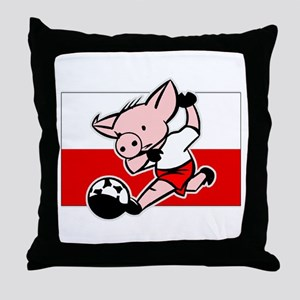 Poland Soccer Pigs Throw Pillow