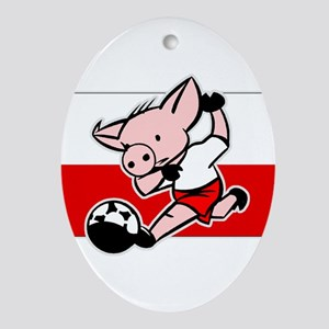 Poland Soccer Pigs Oval Ornament