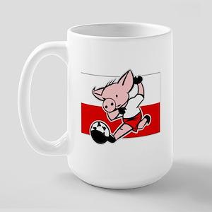 Poland Soccer Pigs Large Mug