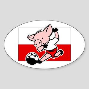 Poland Soccer Pigs Oval Sticker