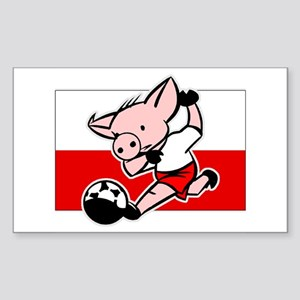 Poland Soccer Pigs Rectangle Sticker