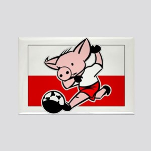 Poland Soccer Pigs Rectangle Magnet