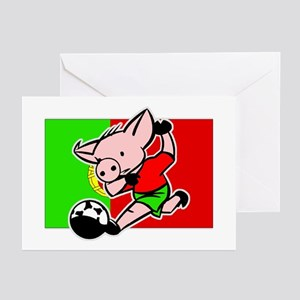 Portugal Soccer Pigs Greeting Cards (Pk of 10)