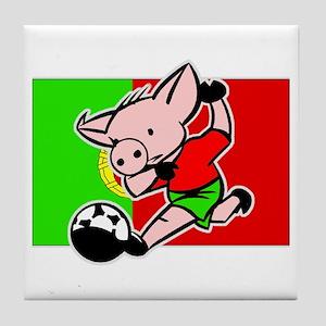 Portugal Soccer Pigs Tile Coaster