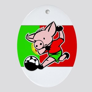 Portugal Soccer Pigs Oval Ornament