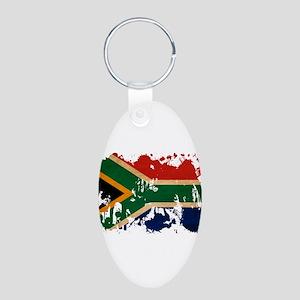 South Africa Flag Aluminum Oval Keychain
