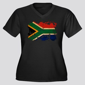 South Africa Flag Women's Plus Size V-Neck Dark T-