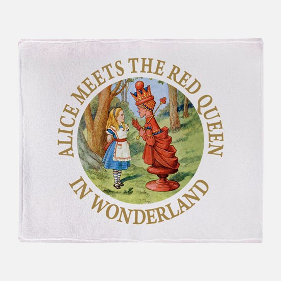 Alice Meets The Red Queen Throw Blanket