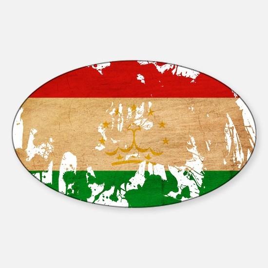 Tajikistan Flag Sticker (Oval)
