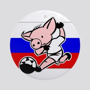 Russia Soccer Pigs Ornament (Round)