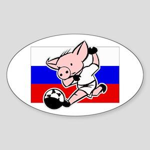 Russia Soccer Pigs Oval Sticker
