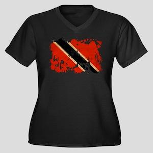Trinidad and Tobago Flag Women's Plus Size V-Neck