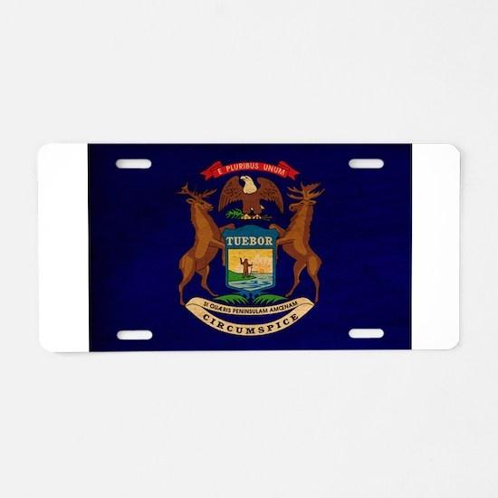 Michigan Flag Aluminum License Plate