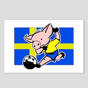 Sweden Soccer Pigs Postcards (Package of 8)