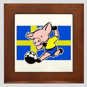 Sweden Soccer Pigs Framed Tile